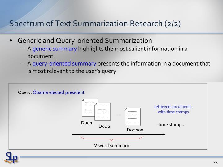 Spectrum of Text Summarization Research (2/2)