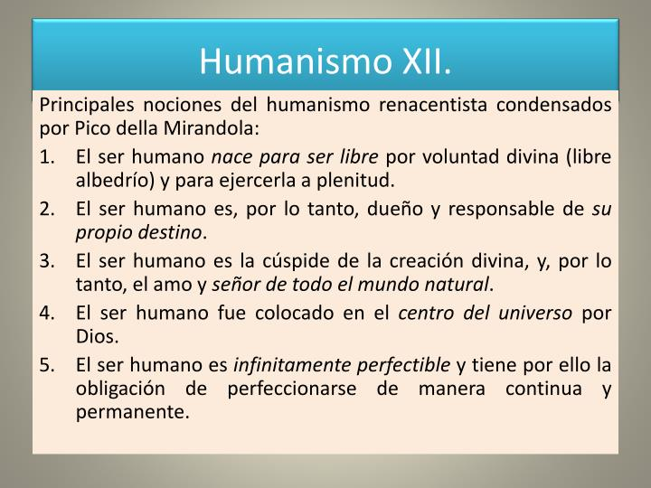Humanismo XII.