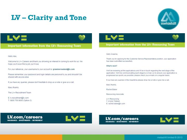 LV – Clarity and Tone