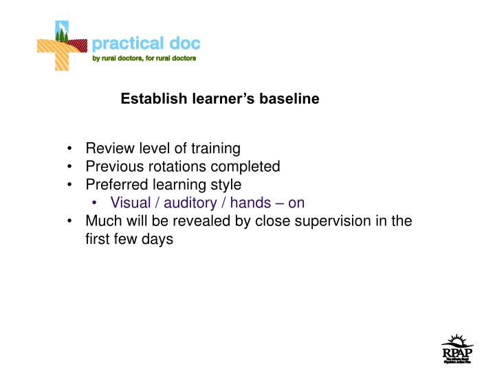 Establish learner's baseline