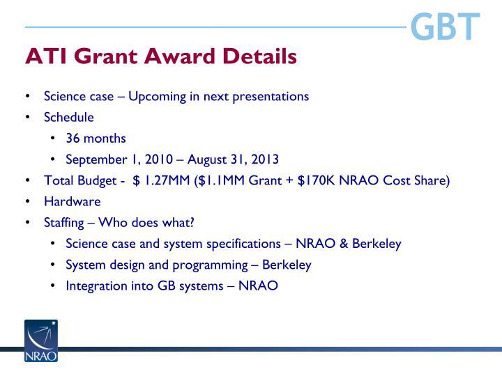ATI Grant Award Details