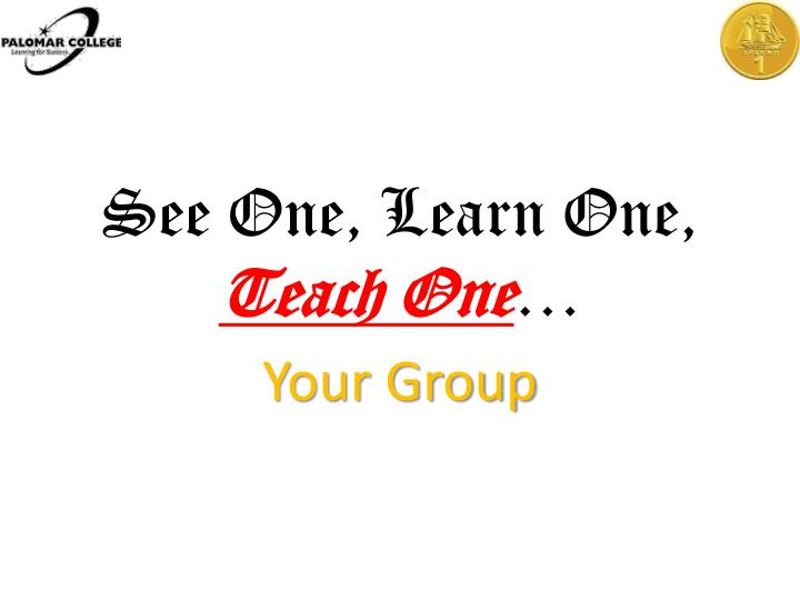 See one learn one teach one