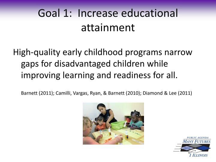 Goal 1:  Increase educational attainment