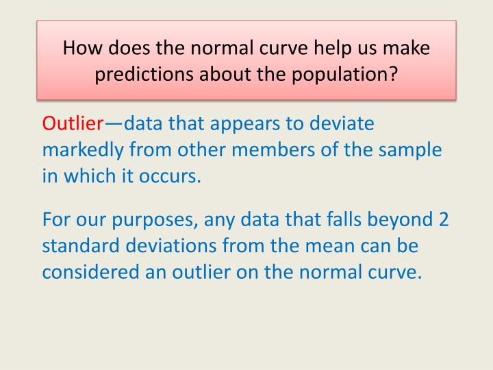 How does the normal curve help us make predictions about the population?