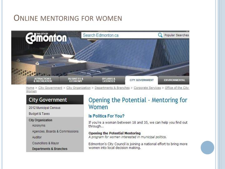 Online mentoring for women