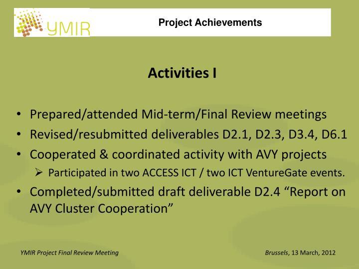 Activities I