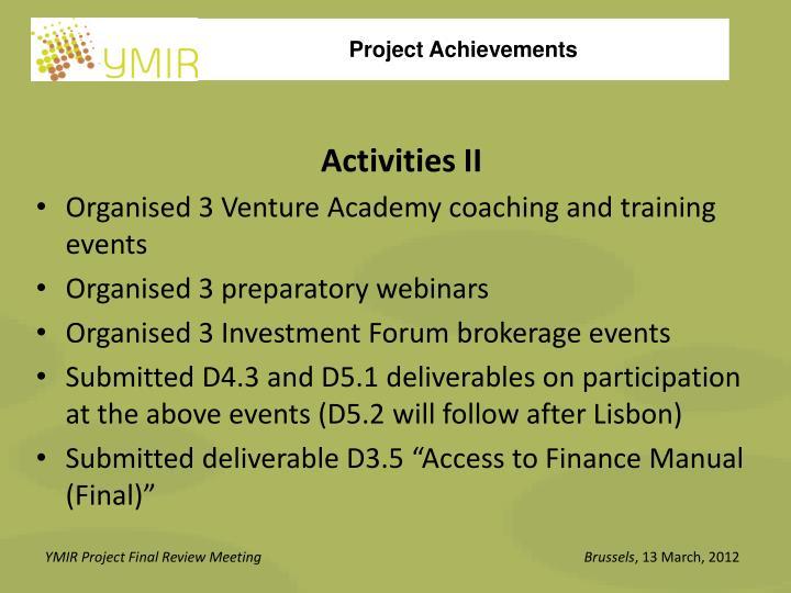 Activities II