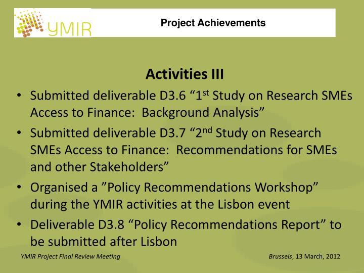 Activities III