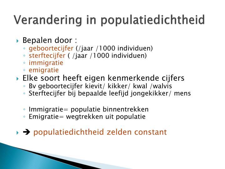 Verandering in populatiedichtheid