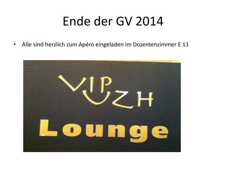 Ende der GV 2014