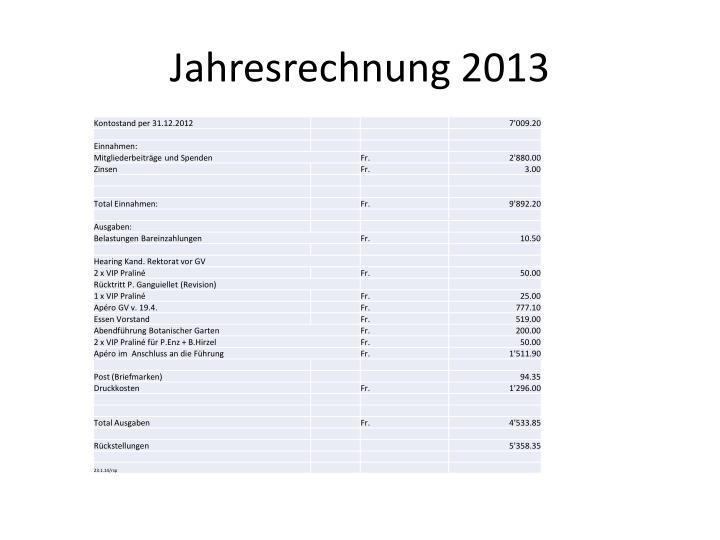 Jahresrechnung 2013