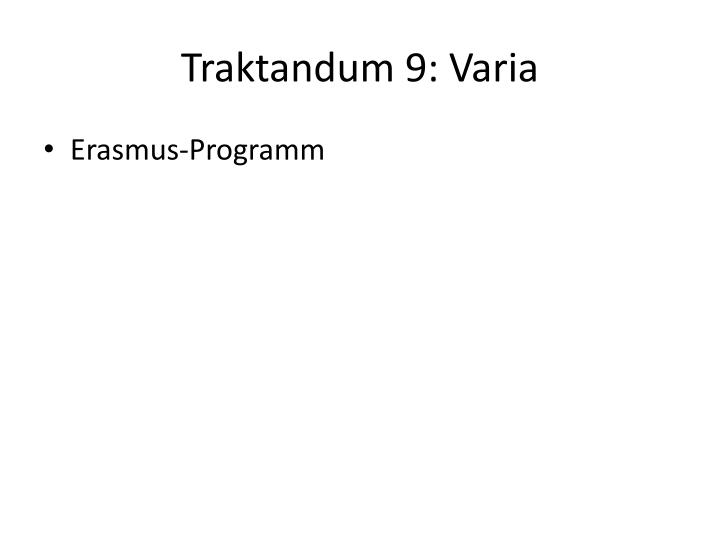 Traktandum 9: Varia