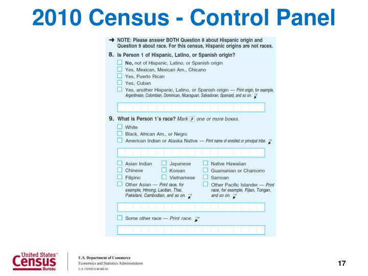 2010 Census - Control Panel