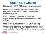 aqe focus groups