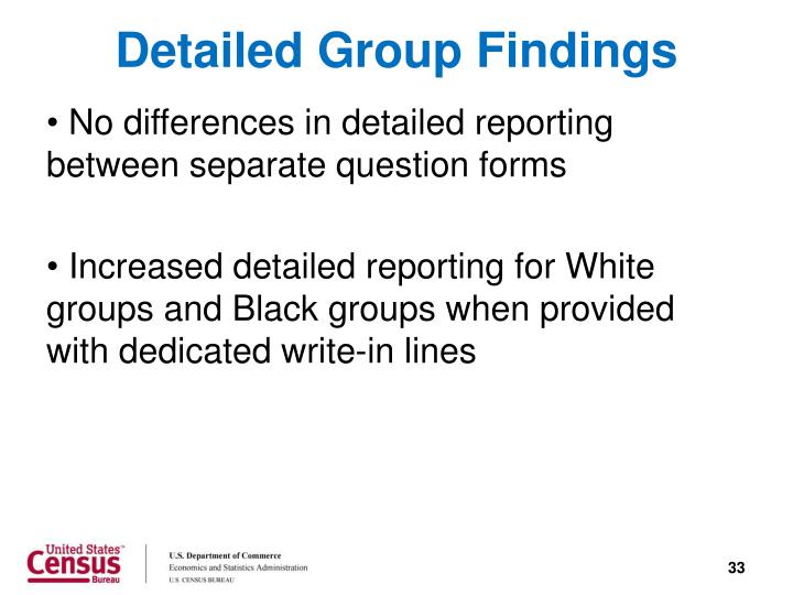Detailed Group Findings