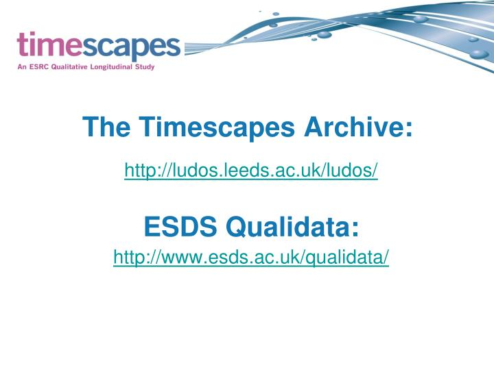 The Timescapes Archive: