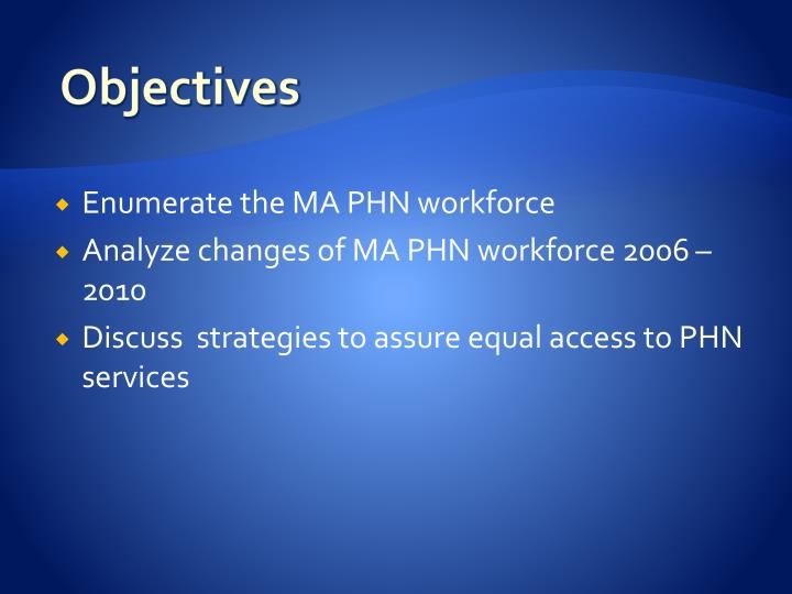 Enumerate the MA PHN workforce