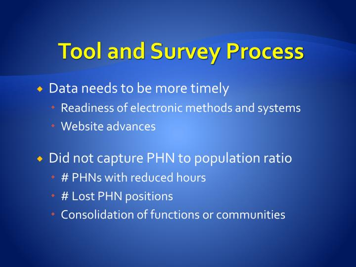 Tool and Survey Process