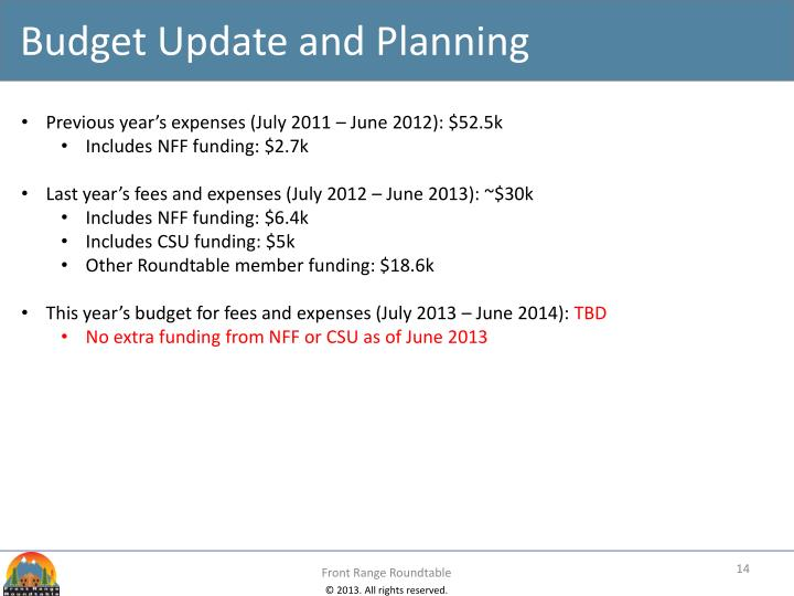 Budget Update and Planning
