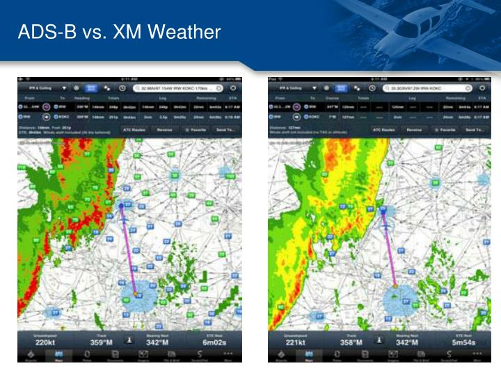 ADS-B vs. XM Weather