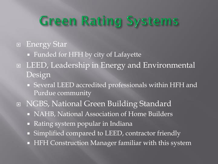 Green Rating Systems