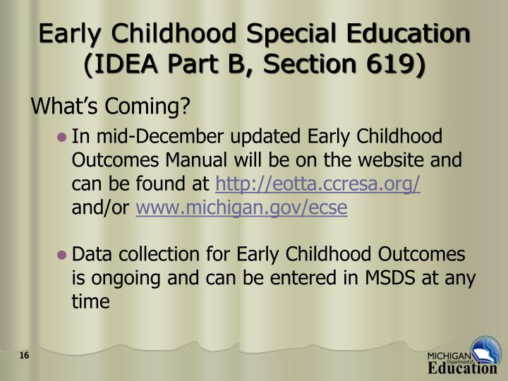 Early Childhood Special Education (IDEA Part B, Section 619)