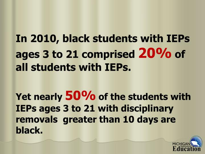 In 2010, black students with IEPs ages 3 to 21 comprised