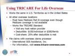 using tricare for life overseaas