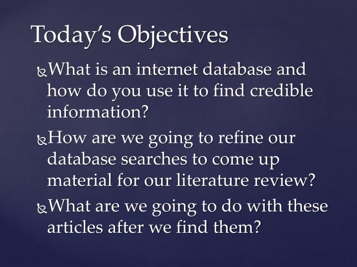 What is an internet database and how do you use it to find credible information?
