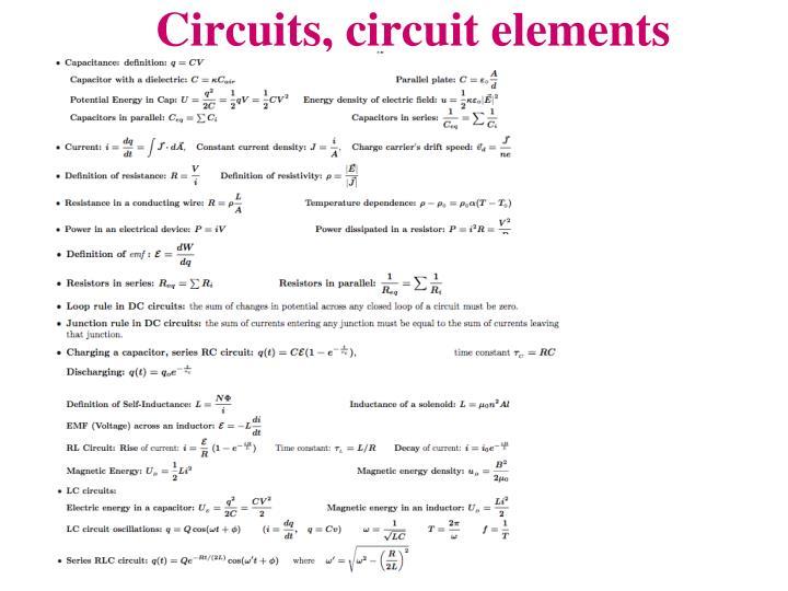 Circuits, circuit elements