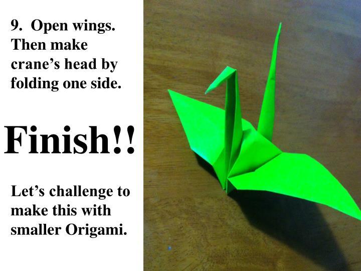 9.  Open wings. Then make crane's head by folding one side.