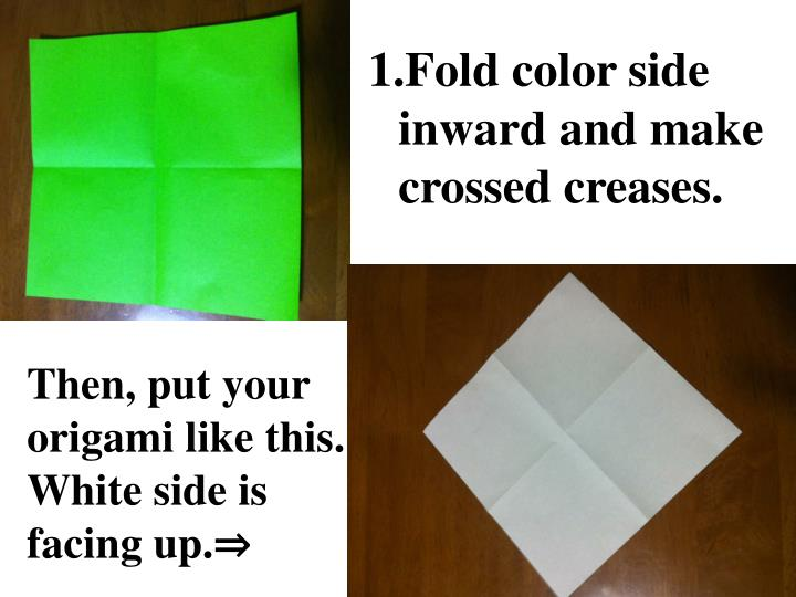Fold color side inward and make crossed creases.