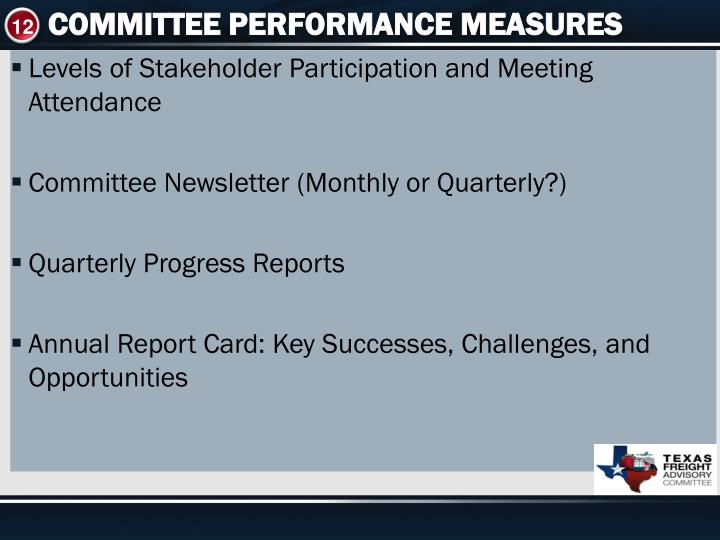 COMMITTEE PERFORMANCE MEASURES