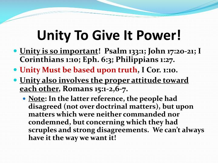 Unity To Give It Power!