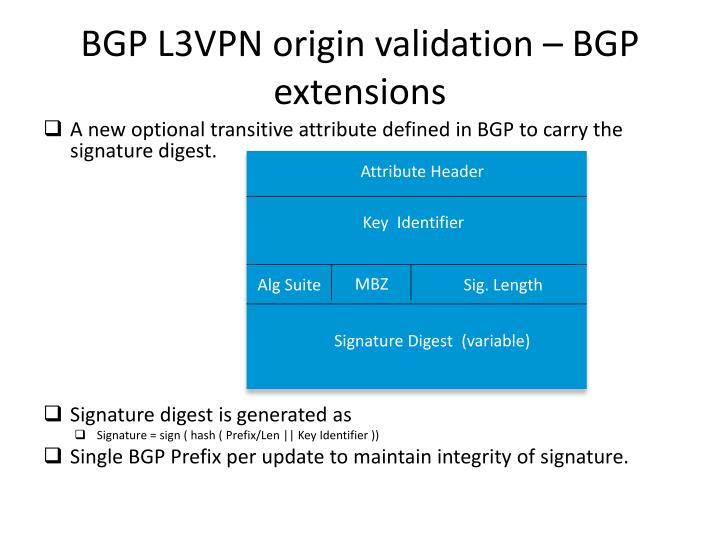 BGP L3VPN origin validation – BGP extensions
