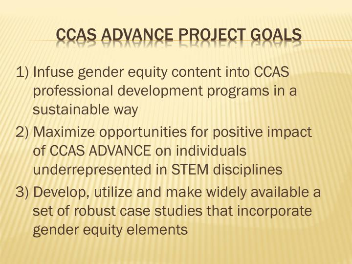 1) Infuse gender equity content into CCAS  professional development programs in a sustainable way
