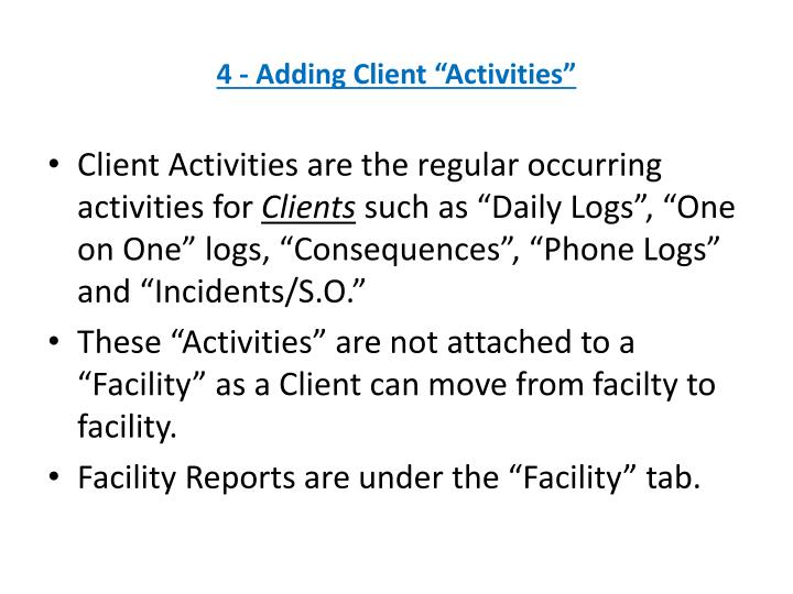 "4 - Adding Client ""Activities"""