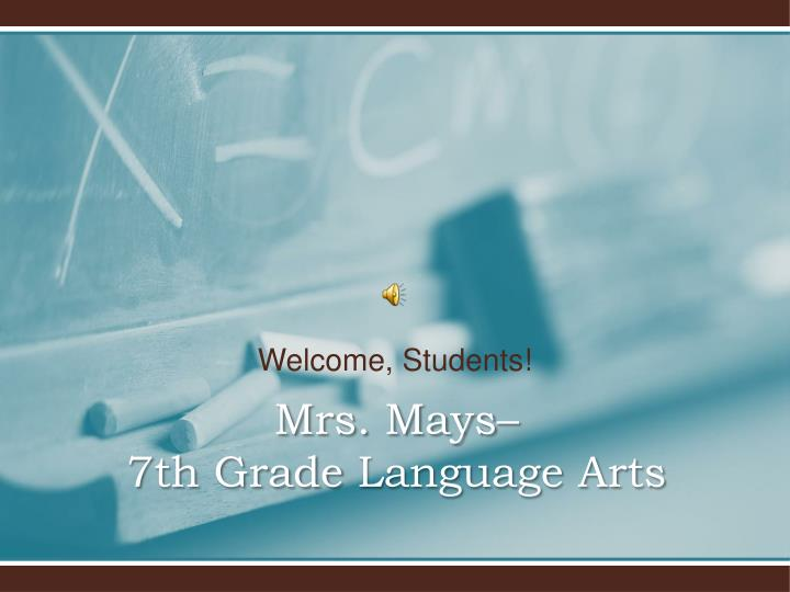 welcome s tudents