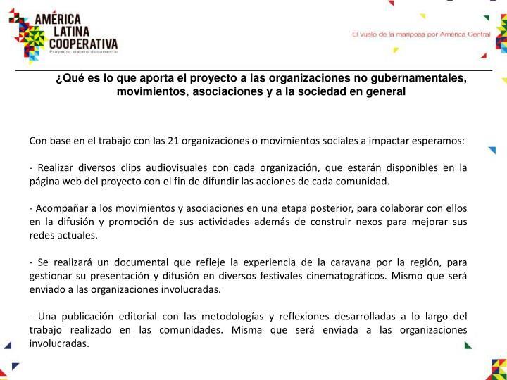 ¿Qué es lo que aporta el proyecto a las organizaciones no gubernamentales, movimientos, asociaciones y a la sociedad en general