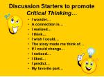 discussion starters to promote critical thinking