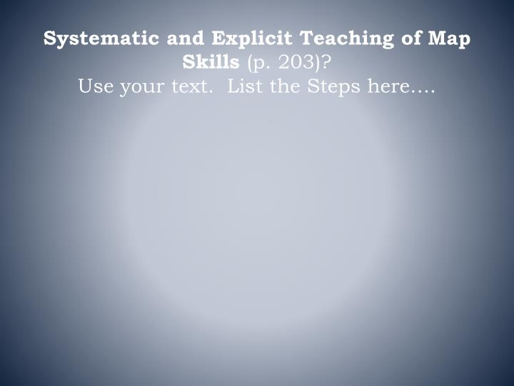 Systematic and Explicit Teaching of Map