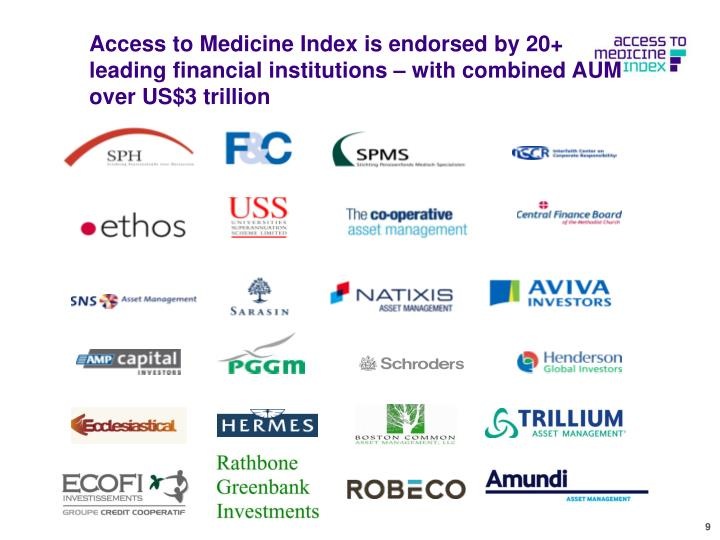 Access to Medicine Index is endorsed by 20+ leading financial institutions – with combined AUM over US$3 trillion