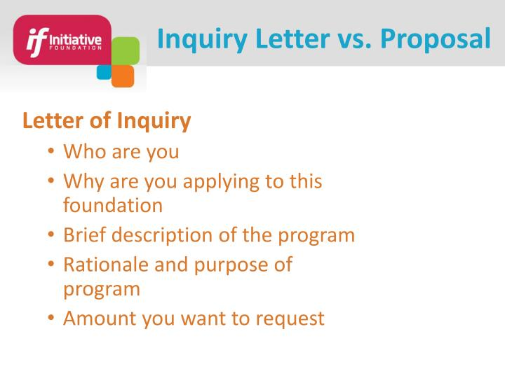 Inquiry Letter vs. Proposal