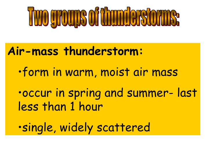 Two groups of thunderstorms: