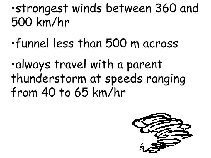 strongest winds between 360 and 500 km/hr