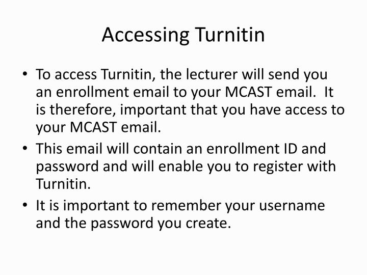 Accessing turnitin