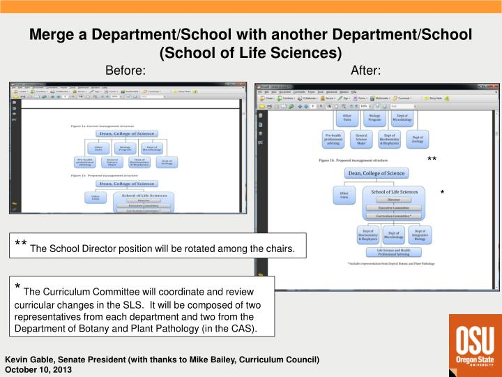 Merge a Department/School with another Department/School (School of Life Sciences)