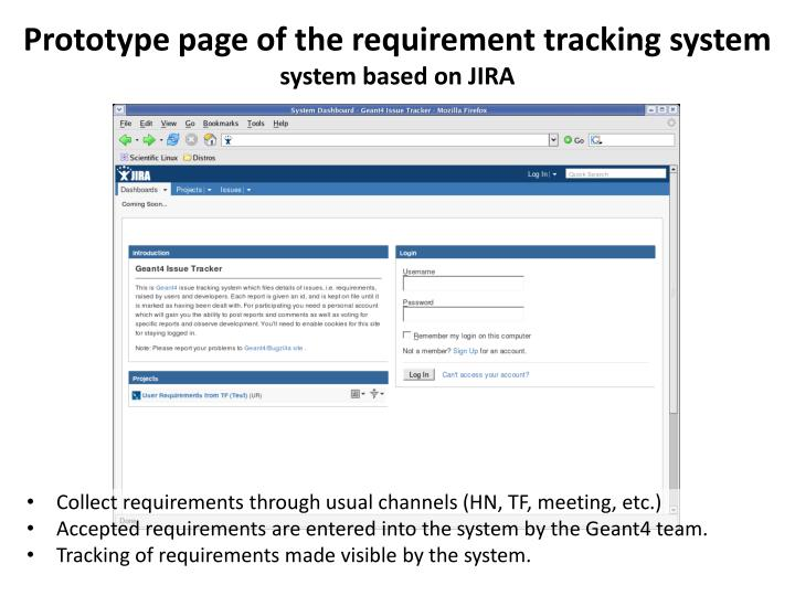 Prototype page of the requirement tracking system
