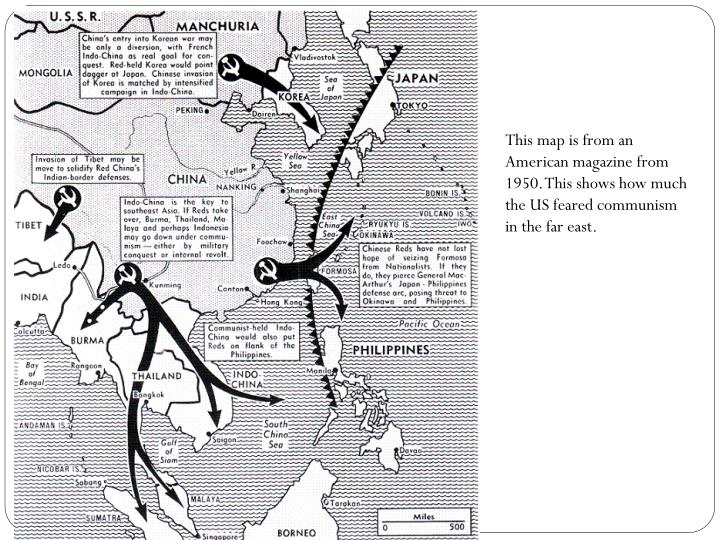 This map is from an American magazine from 1950. This shows how much the US feared communism in the far east.