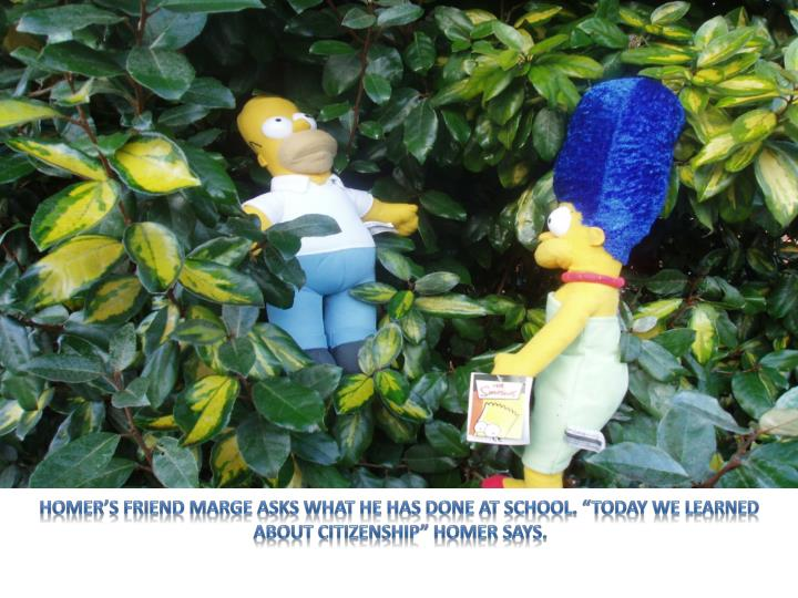"Homer's friend Marge asks what he has done at school. ""Today we learned about Citizenship"" Hom..."
